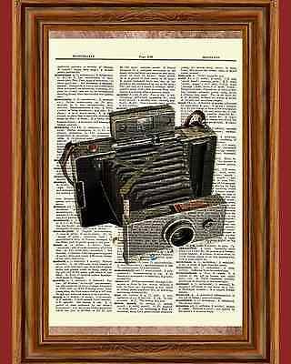 Vintage Polaroid Camera Retro Wall Decor Dictionary Art Picture Book Antique