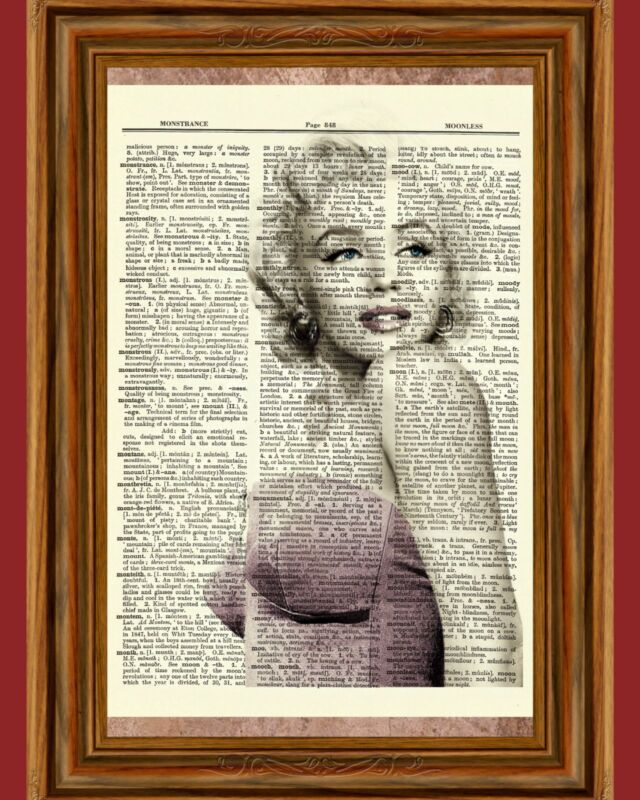 Marilyn Monroe Actress Dictionary Page Art Print Book Page Picture Pink Romantic