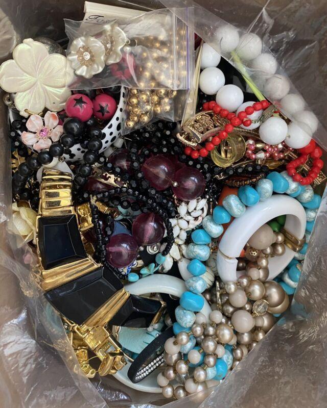 10 LB Lot Vintage Now Costume Jewelry Craft Harvest Repair Repurpose
