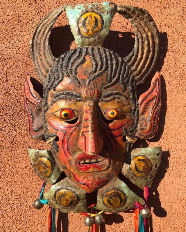 Antique Hammered Copper Diablo Devil Guerrero Mexican Mask