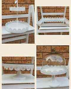 White lace metal cake stand for hire Menai Sutherland Area Preview