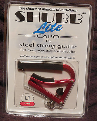 Shubb L1 Lite for Steel String in Red Aluminum NIB FREE Shipping
