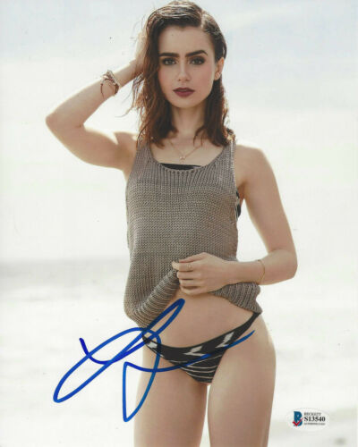 LILY COLLINS SIGNED AUTHENTIC 8x10 SEXY ACTRESS PHOTO 6 BECKETT COA BAS