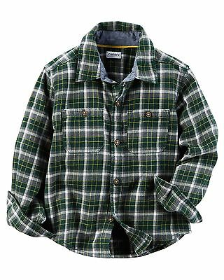 Carter's Boys Green Plaid Twill Button-Front Shirt Long Sleeve NWT Boys Long Sleeved Twill Shirt