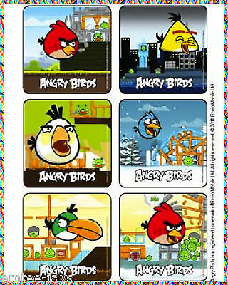 Angry Birds Stickers X 6 - Party Favours- Video Games Movie Angry Birds Birthday](Angry Birds Party Favours)