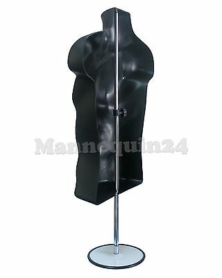Male Mannequin Torso Form - Black Dress Form W Stand Hanging Hook