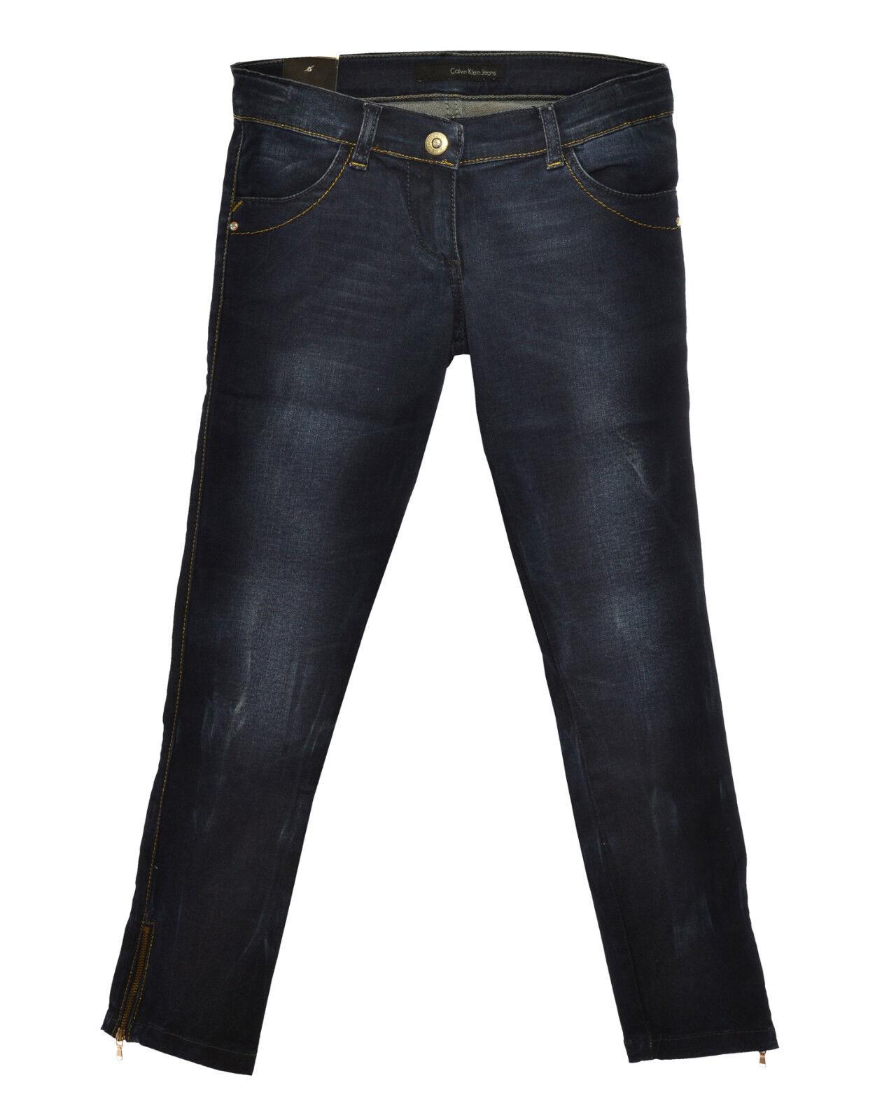 Jeans Bambina CALVIN KLEIN JEANS logo con strass su tasca anteriore in SALDO