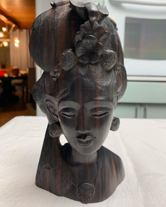 Vintage Hand Carved Wood Sculpture Bust Woman And Bird Bali