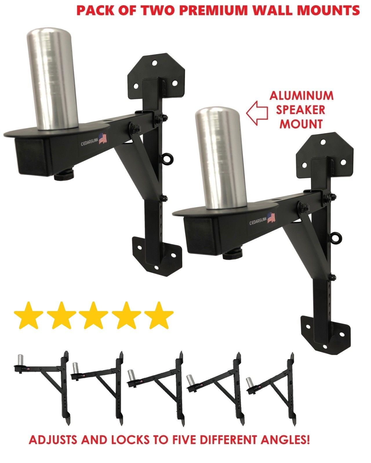 PA Speaker Wall Mount Brackets - 2 Pro-Audio Stands Post Hol