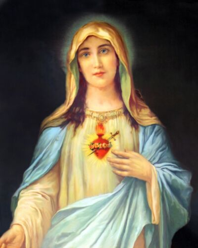 """Catholic print picture - IMMACULATE HEART MARY  4 -  8"""" x 10"""" ready to be framed"""
