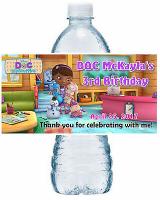 20 DOC McSTUFFINS BIRTHDAY PARTY FAVORS WATER BOTTLE LABELS office scene (Doc Mcstuffins Birthday Party)