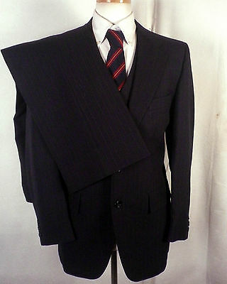 vtg Bardstown euc Navy Blue Pinstriped Wool blend 3 Pc Business Suit Vested 40 R