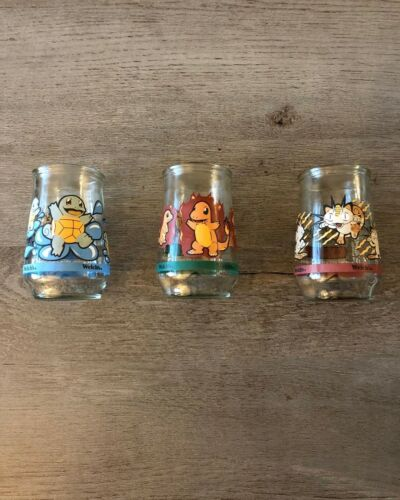 Pokemon Welch's Glass Jar (1999) Lot of 3 - #4 Charmander #7 Squirtle #52 Meowth