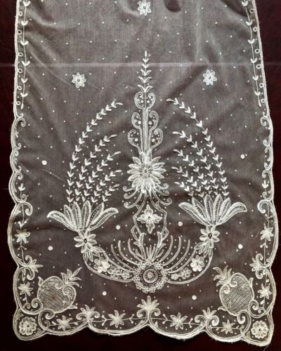19th C. very long tambour embroidered net shawl veil Floral BRIDE COSTUME