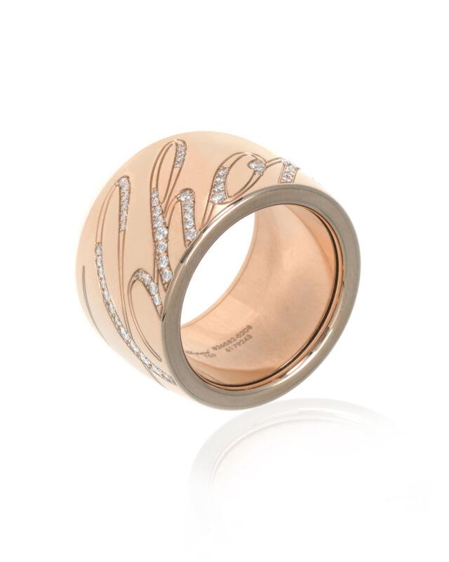Chopard 18k Rose Gold Diamond Chopardissimo Ring Sz 5.75 826582-5208 MSRP $9830