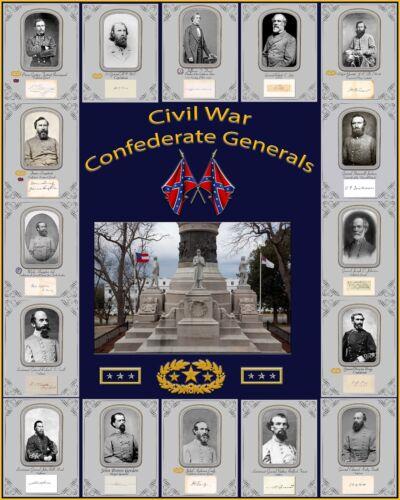 "Confederate Civil War Generals, Monument & Insignias on 16"" X 20"" Photo paper"