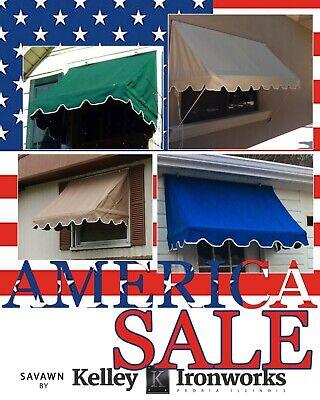 JULY SALE! SavAwn Awning 4' Retractable Brown Green Tan Beige Window Door Canopy