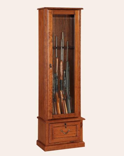 8-GUN LOCKING WOOD Display Cabinet w/ Storage Shelf, Cherry, Rifles & Shotguns