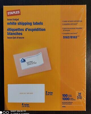Staples Laserinkjet Shipping Labels 2 X 4 White 10 Labelssheet 479877