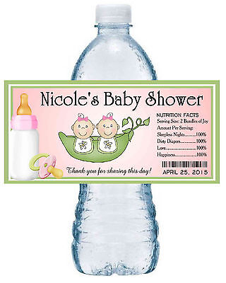 20 TWO PEAS IN A POD TWINS BABY SHOWER FAVORS WATER BOTTLE LABELS ~ pink ~  (Twins Party Supplies)