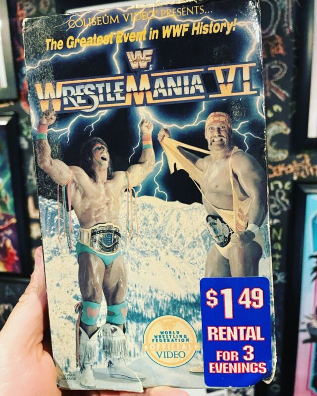 WWF Wrestlemania 6 VHS Rare Blockbuster Rental Tested With Free Blockbuster Bag