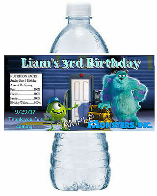 20 ~ MONSTERS INC. BIRTHDAY PARTY FAVORS WATER BOTTLE LABELS ~ waterproof ink](Monsters Inc Birthday Party)