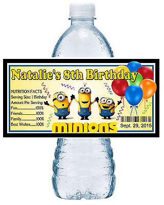20 ~ MINIONS BIRTHDAY PARTY FAVORS WATER BOTTLE LABELS ~ waterproof ink (Minion Favors)