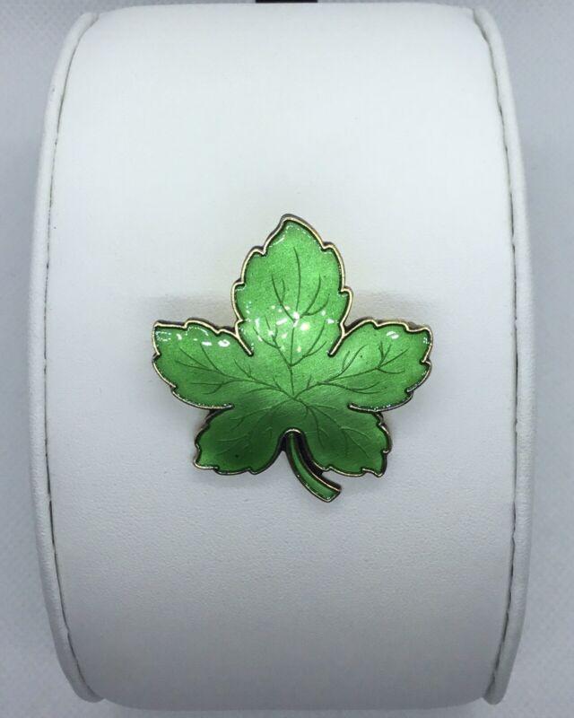 Authentic David Meka Denmark Sterling Silver Enamel Green Maple Leaf Brooch, EUC