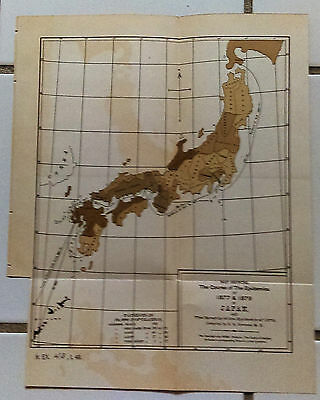 RARE Original Map 1879 Course of Epidemics Cholera in Japan Compiled Dr. Simmons