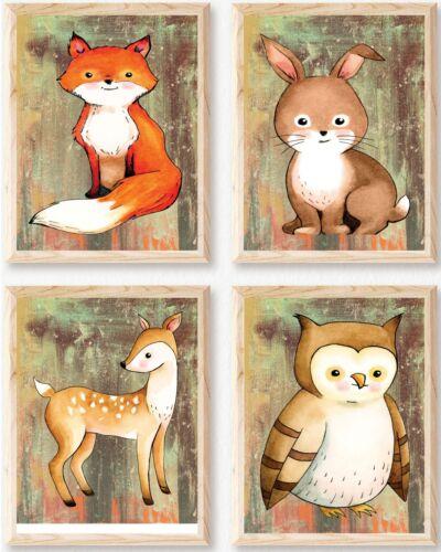"Nursery Art, Woodland Nursery Art, 4 prints, 8x10"", Fox, Rabbit, Deer, Owl Art"
