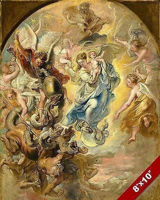 EPIC SCENE OF THE APOCALYPSE PAINTING CATHOLIC CHURCH ART REAL CANVAS PRINT