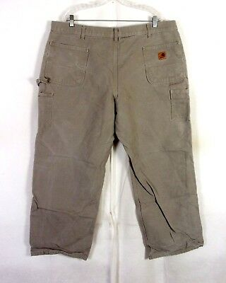 euc Carhartt gray/beige Duck Canvas Men's Carpenter Work Pants Jeans sz 43 X 30