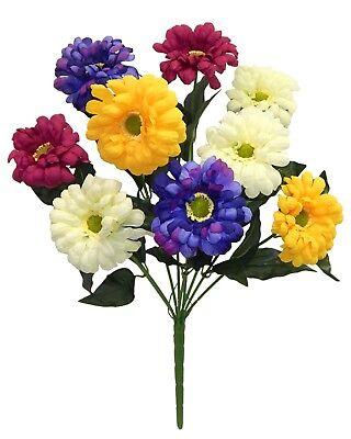 Blue Yellow Wedding Flowers - 9 Zinnias Blue Yellow Pink Silk Wedding Flowers Bouquets Centerpieces Artificial