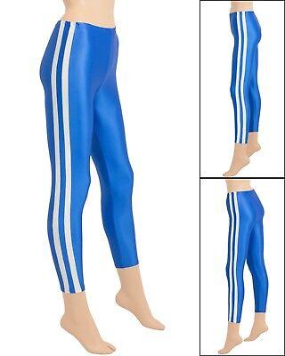 Damen Wetlook Leggings mit Streifen glänzend royalblau elastisch Hauteng S-XL ()