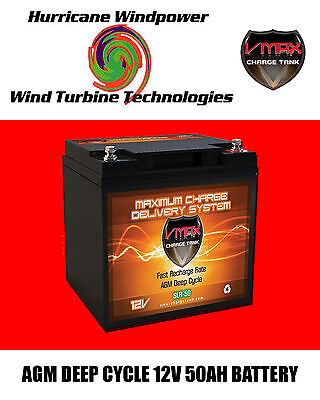 Vmax Slr50 Agm Deep Cycle 12v 50ah Battery For Synthesis Renogy Pv Solar Panel