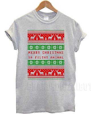 Merry Christmas Ya Filthy Animal T-shirt Women's Mens Kid's Unisex Tee Gift