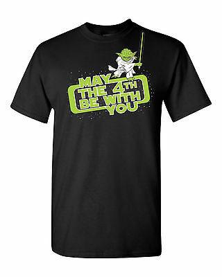 May The 4Th Be With You Star Wars Parody Force Yoda Mens Tee Shirt 1396
