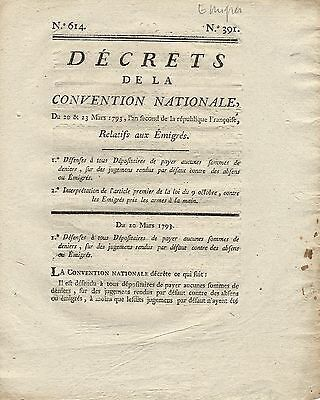 French Republic Decrets March 23 1793 Judgment Relating Money   Property