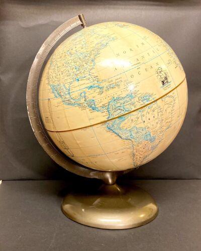 """Vintage 12"""" Diameter Rand McNally Raised Terrestrial Art Mermaid Globe Metal Bae"""