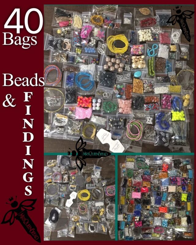 Lot Of Jewelry Making Supplies 40 Bag Findings Beads Pendants Wire Closures 🖤🐝