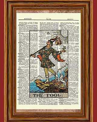 "Tarot Cards ""The Fool"" Major Arcana Deck Dictionary Art Print Book Picture Wall"
