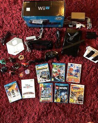 Nintendo Wii U Premium Pack 32GB Black System , Disney infinity, Figures + Discs