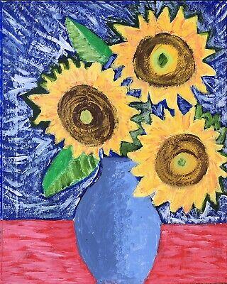 Original Painting Sunflowers In Blue Case Vase , On Board, Folk/ Naive Art
