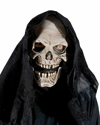 Grim Reaper Adult Mask Latex Skull Skeleton Face Disguise Scary Halloween - Halloween Grim Face