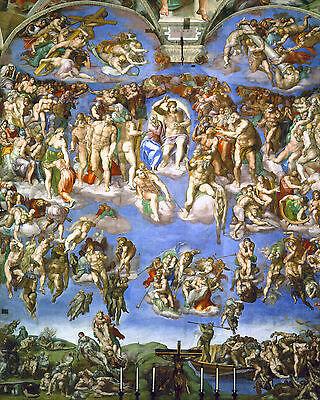 Michelangelo Last Judgement Christian Bible Painting 8x10 Real Canvas Art Print