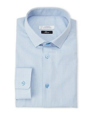 Versace Collection Men's Light Blue Twill Trend Fit Dress Shirt New in Box