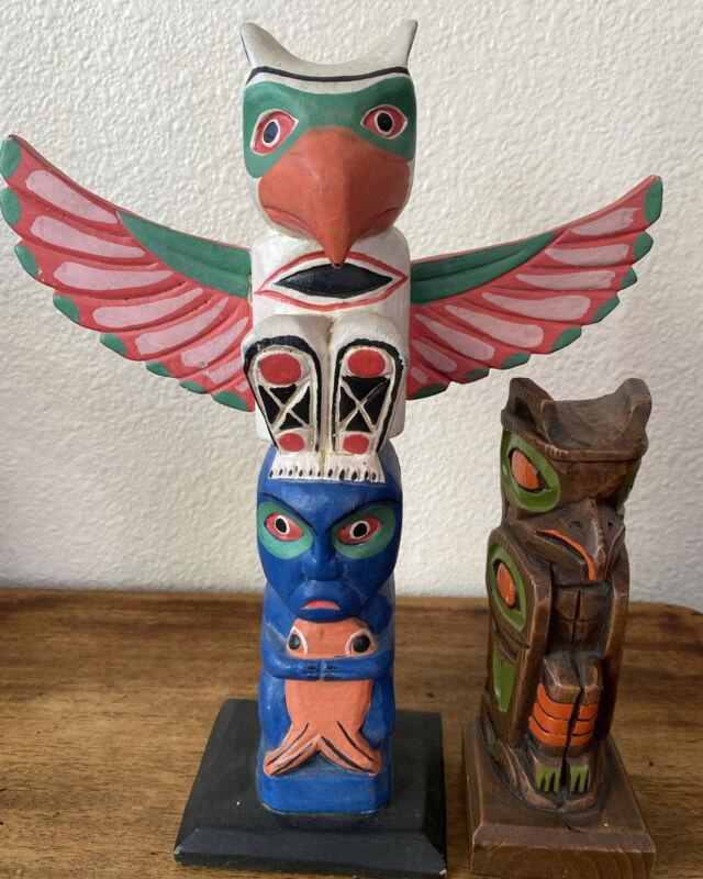 Vintage Hand Carved Alaskan Totem Pole lot!