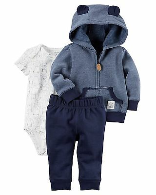 CARTERS Newborn 3 6 9 12 18 24 Month Clothes Outfit Set Baby Boy Blue Cardigan