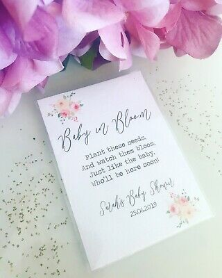 8x  Personalised Seed Baby Shower Favours Mum To Be Gift Flowers Cheap