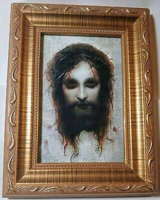 Veronica's Veil by Gabriel Max Jesus Christ crowned with thorns in gold frame